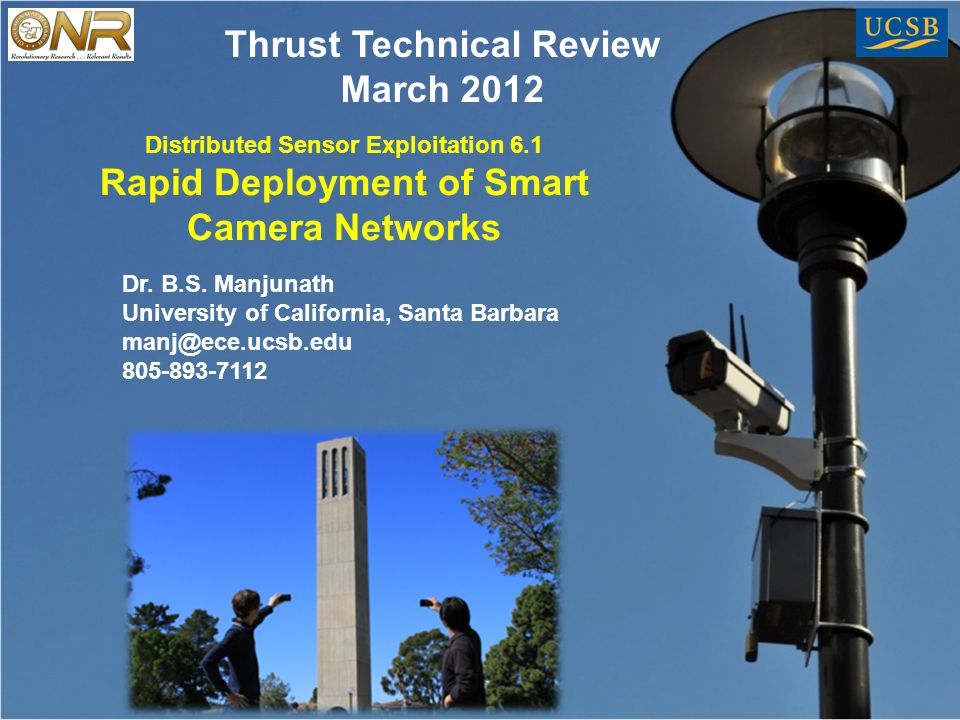 Distributed Sensor Exploitation 6.1 Rapid Deployment of Smart Camera Networks Dr.