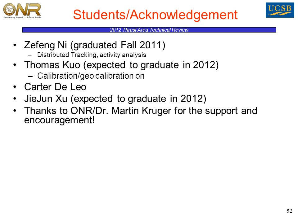 2012 Thrust Area Technical Review 52 Students/Acknowledgement Zefeng Ni (graduated Fall 2011) –Distributed Tracking, activity analysis Thomas Kuo (expected to graduate in 2012) –Calibration/geo calibration on Carter De Leo JieJun Xu (expected to graduate in 2012) Thanks to ONR/Dr.