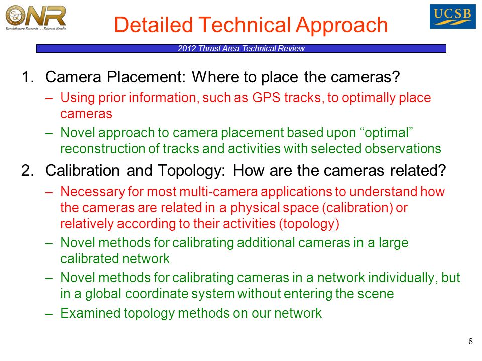 2012 Thrust Area Technical Review Detailed Technical Approach 1.Camera Placement: Where to place the cameras.