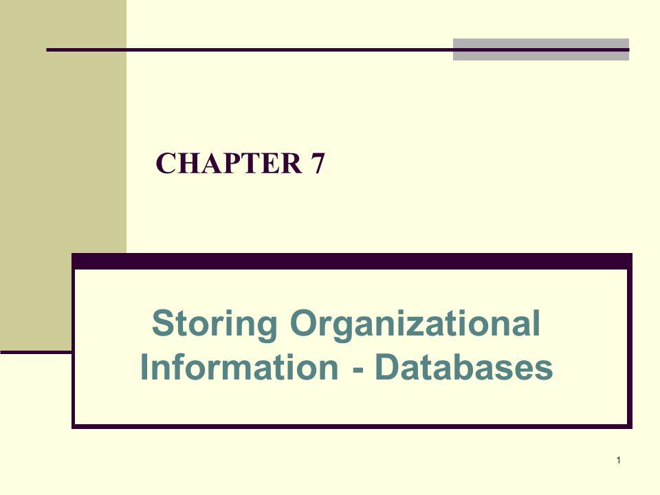 1 CHAPTER 7 Storing Organizational Information - Databases