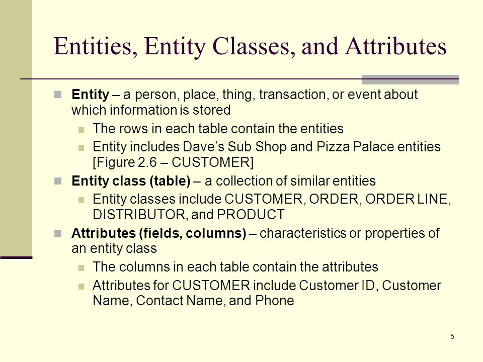 5 Entities, Entity Classes, and Attributes Entity – a person, place, thing, transaction, or event about which information is stored The rows in each t