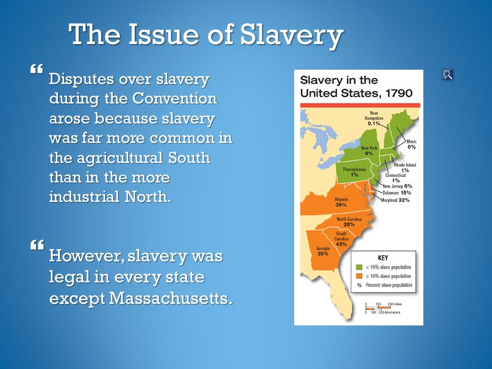 The Issue of Slavery  Disputes over slavery during the Convention arose because slavery was far more common in the agricultural South than in the more industrial North.