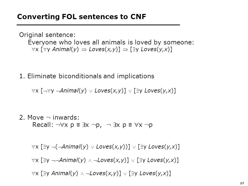 27 Converting FOL sentences to CNF Original sentence: Everyone who loves all animals is loved by someone: x [y Animal(y)  Loves(x,y)]  [y Loves(y,x)] 1.