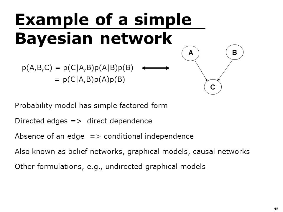 45 Example of a simple Bayesian network A B C Probability model has simple factored form Directed edges => direct dependence Absence of an edge => conditional independence Also known as belief networks, graphical models, causal networks Other formulations, e.g., undirected graphical models p(A,B,C) = p(C|A,B)p(A|B)p(B) = p(C|A,B)p(A)p(B)