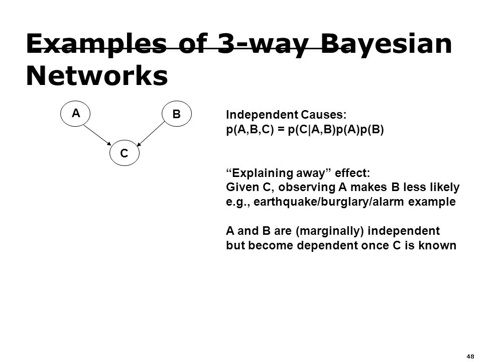 48 Examples of 3-way Bayesian Networks A B C Independent Causes: p(A,B,C) = p(C|A,B)p(A)p(B) Explaining away effect: Given C, observing A makes B less likely e.g., earthquake/burglary/alarm example A and B are (marginally) independent but become dependent once C is known