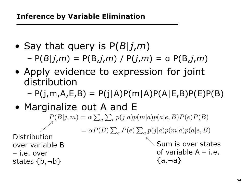 54 Inference by Variable Elimination Say that query is P(B|j,m) –P(B|j,m) = P(B,j,m) / P(j,m) = α P(B,j,m) Apply evidence to expression for joint distribution –P(j,m,A,E,B) = P(j|A)P(m|A)P(A|E,B)P(E)P(B) Marginalize out A and E Sum is over states of variable A – i.e.
