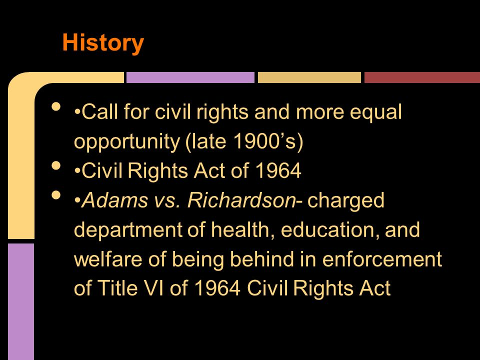 affirmative action and civil rights policies The civil rights act of 1964 made it illegal to discriminate against students and college applicants on the basis of race or gender, but proving bias.