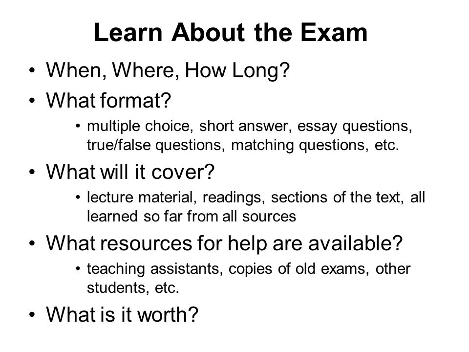 answering essay and short answer exam questions Short answer exams short answer exams an  each part of the question by answering the question directly it is good to give your answer by  rearranging the exact words of the question  same way as an essay exam response 1 the direct answer to the question should be first.