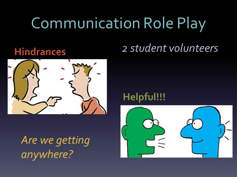 Communication Role Play Hindrances Helpful!!! Are we getting anywhere 2 student volunteers