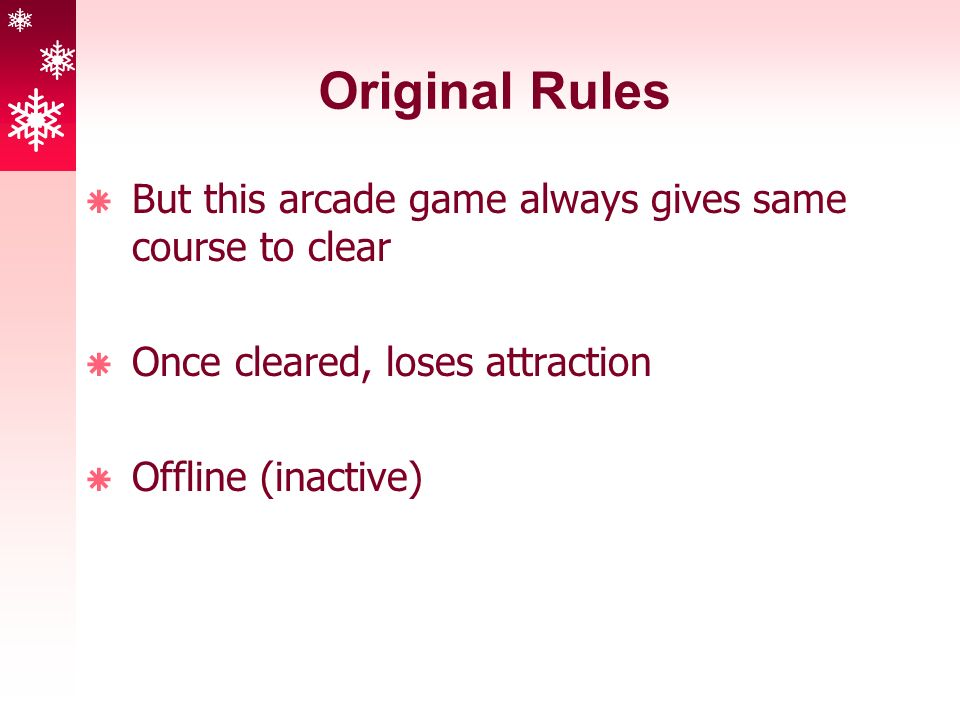 Original Rules  But this arcade game always gives same course to clear  Once cleared, loses attraction  Offline (inactive)