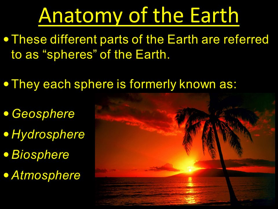 Anatomy of the Earth These different parts of the Earth are referred to as spheres of the Earth.