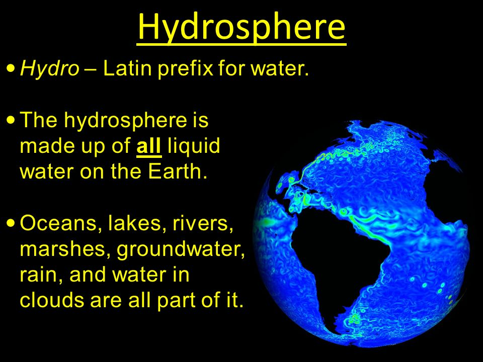 Hydrosphere Hydro – Latin prefix for water.