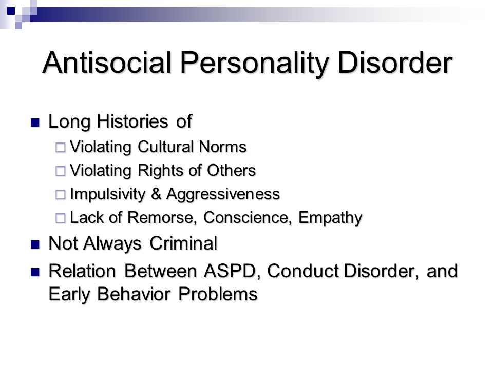 antisocial personality disorder essay example Antisocial personality disorder research papers deal with the diagnosing the disorder and the difficulty the dsm-iv has had in pinning down an exact definition.