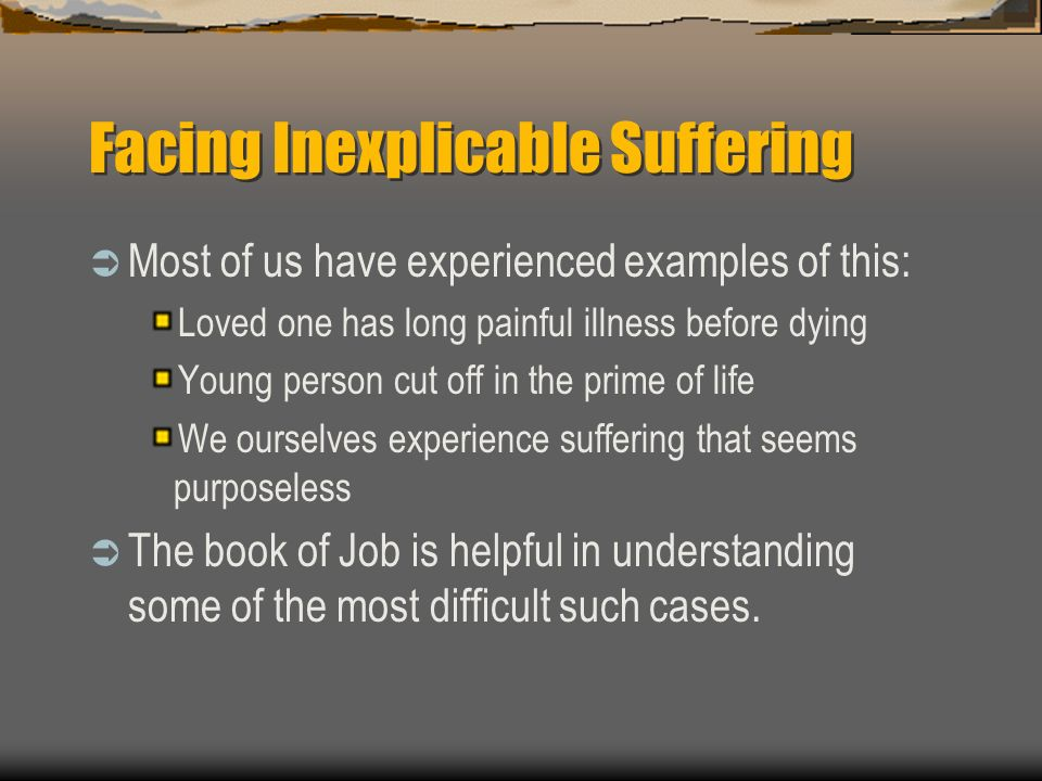 book of job suffering essay Disclaimer: free essays on religion posted on this site were donated by anonymous users and are provided for informational use only the free religion research paper (book of job: suffering essay) presented on this page should not be viewed as a sample of our on-line writing service.