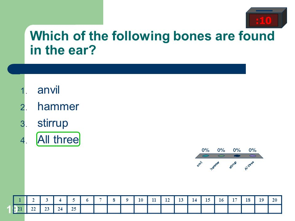 19 Which of the following bones are found in the ear.