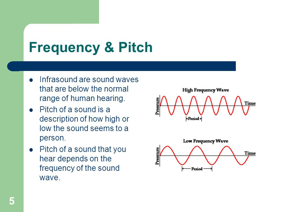 5 Frequency & Pitch Infrasound are sound waves that are below the normal range of human hearing.