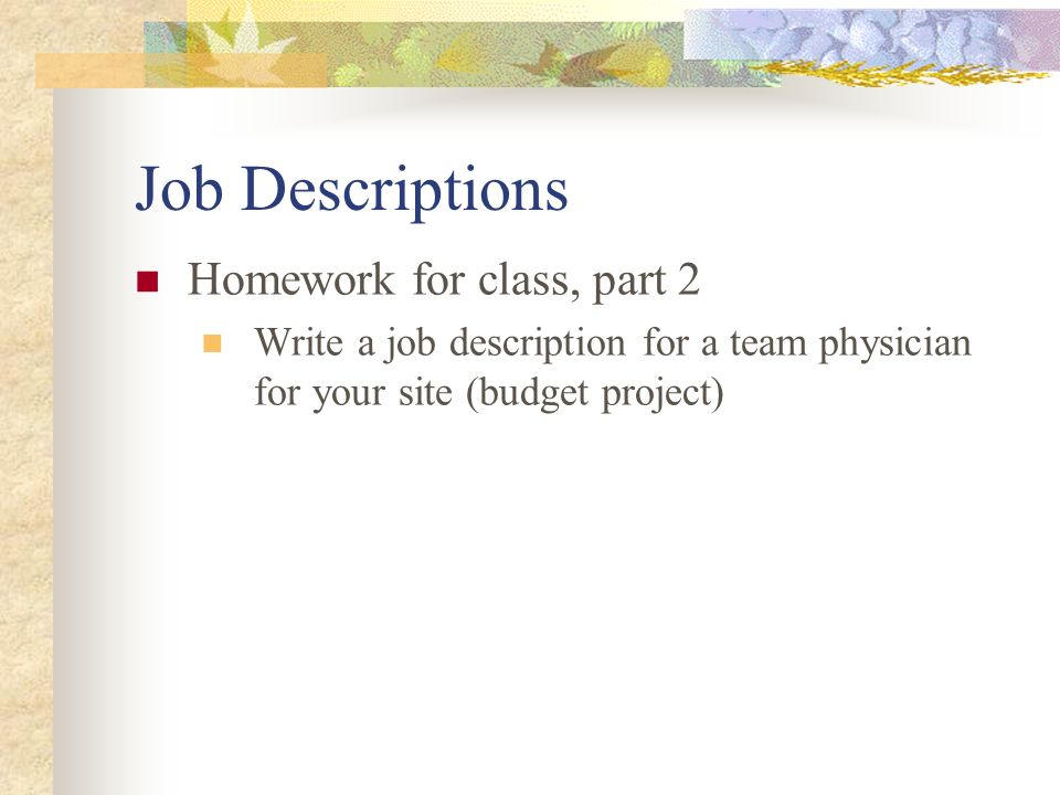 Ch. 3 Human Resource Management Kspe Job Descriptions Homework For