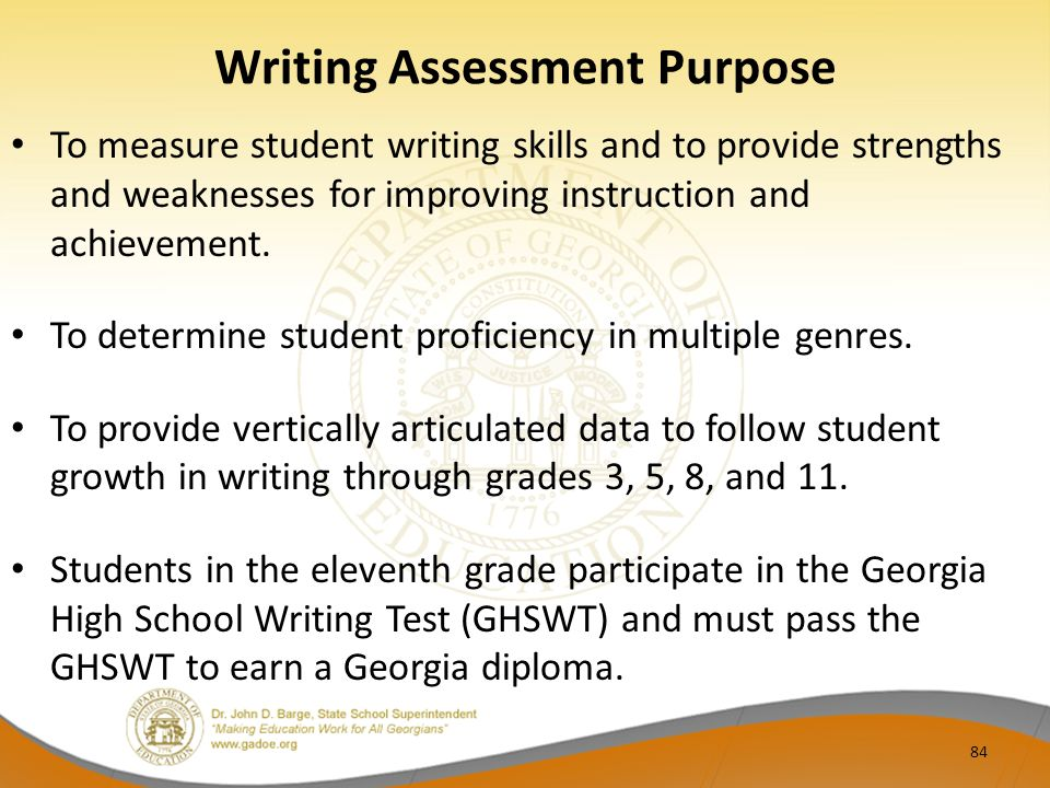 writing assessment Results of the 2011 naep computer-based writing assessment, administered to students in grades 8 and 12 throughout the united states, are now available this is the first time the writing assessment was delivered via computer explore the tutorials describing this innovative assessment.