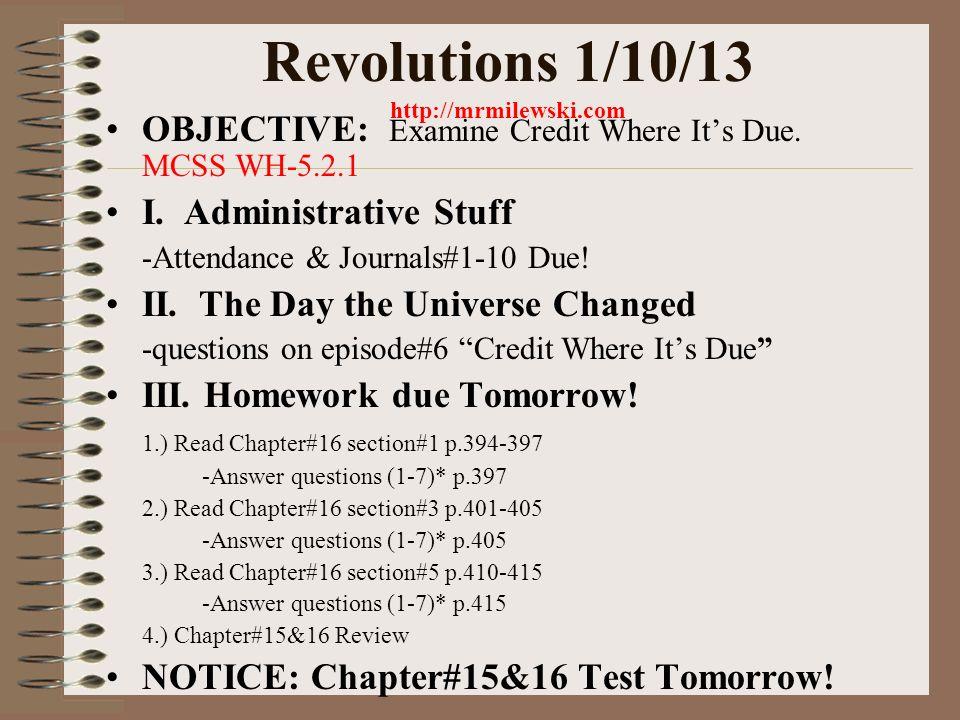 Revolutions 1/7/13 OBJECTIVE: Examine what is Infinitely ...
