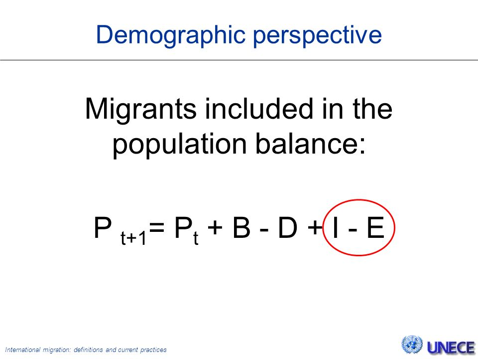 International migration: definitions and current practices Demographic perspective Migrants included in the population balance: P t+1 = P t + B - D + I - E