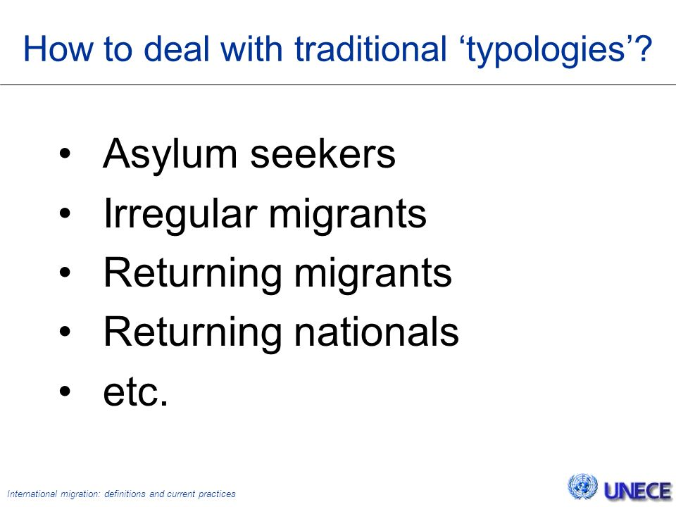 International migration: definitions and current practices How to deal with traditional 'typologies'.