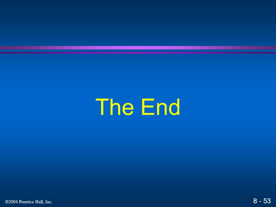 ©2004 Prentice Hall, Inc. The End