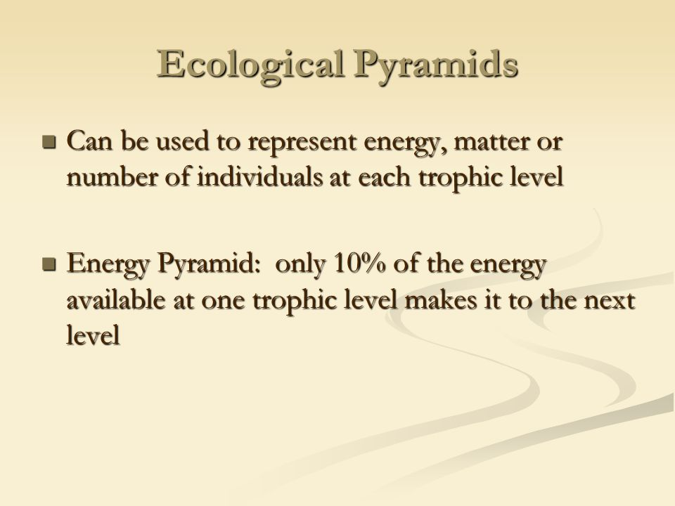 Ecological Pyramids Can be used to represent energy, matter or number of individuals at each trophic level Can be used to represent energy, matter or number of individuals at each trophic level Energy Pyramid: only 10% of the energy available at one trophic level makes it to the next level Energy Pyramid: only 10% of the energy available at one trophic level makes it to the next level