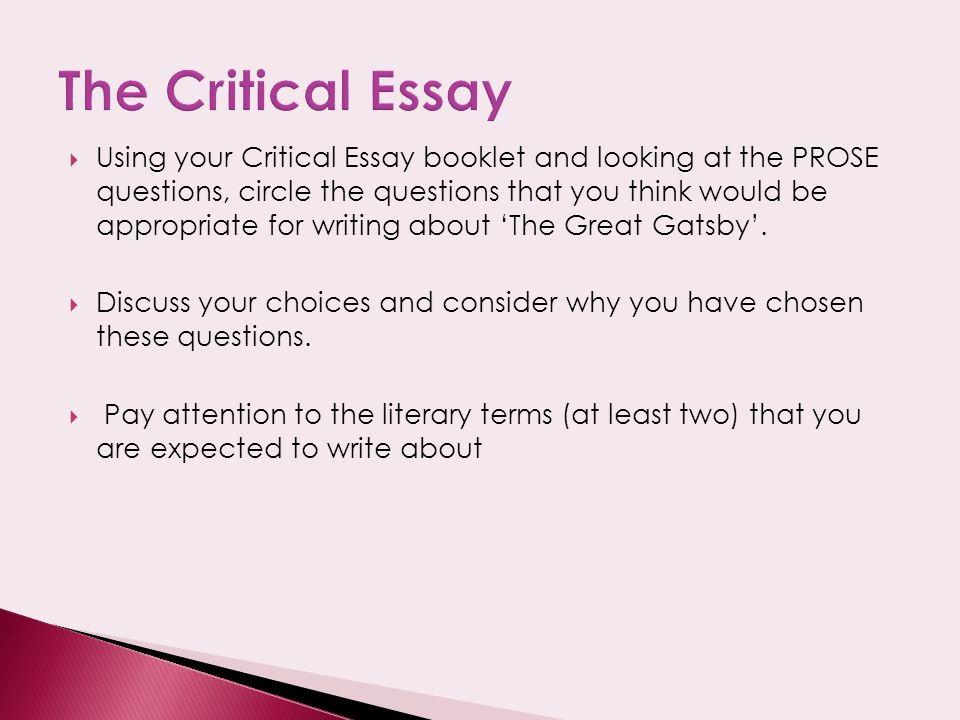 f scott fitzgerald critical essays on the great gatsby