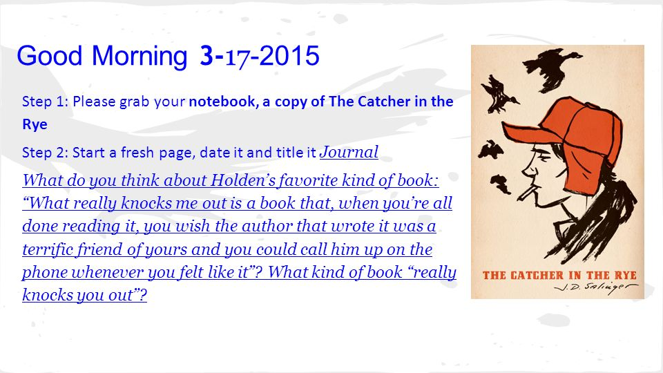 the catcher in the rye essay Free catcher in the rye papers, essays, and research papers.