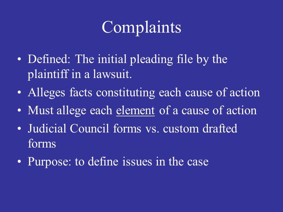 2 Complaints ...  Judicial Council Form Complaint