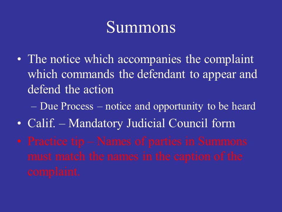 Civil Procedure LA 310 Summons Complaint Service of Process – Judicial Council Form Complaint