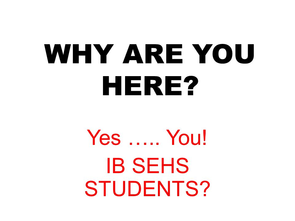 WHY ARE YOU HERE Yes ….. You! IB SEHS STUDENTS
