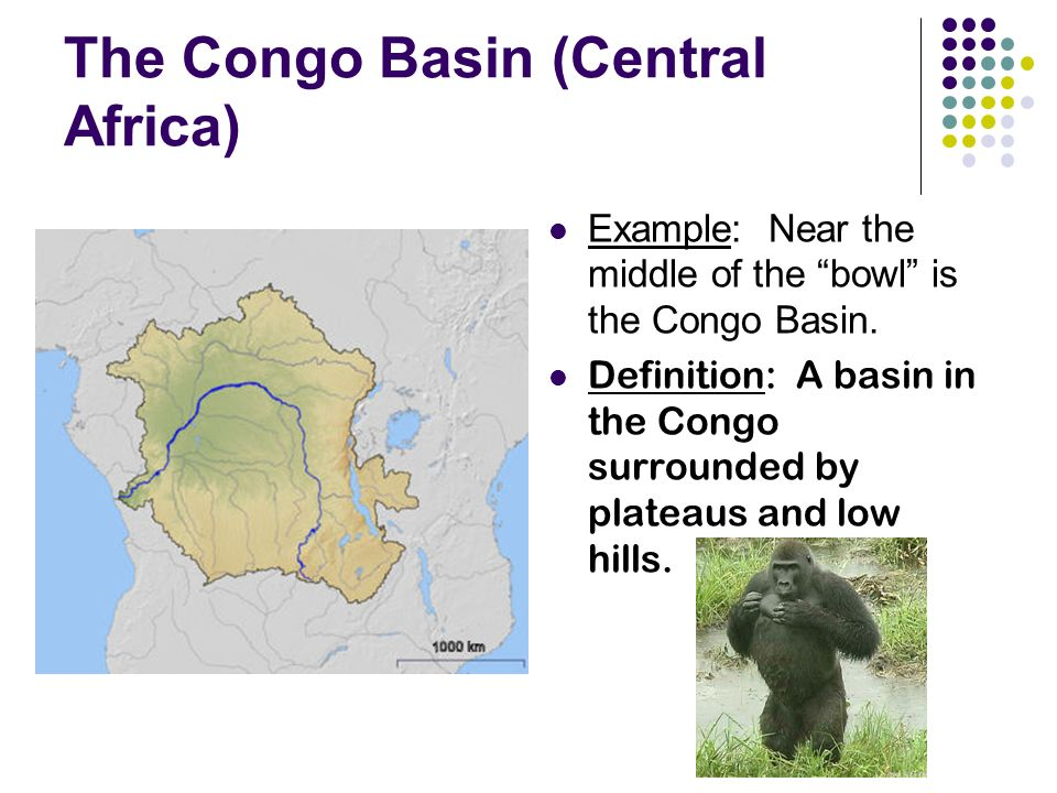 The Congo Basin (Central Africa) Example: Near the middle of the bowl is the Congo Basin.