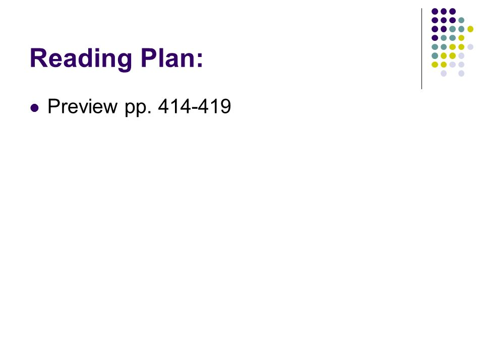 Reading Plan: Preview pp