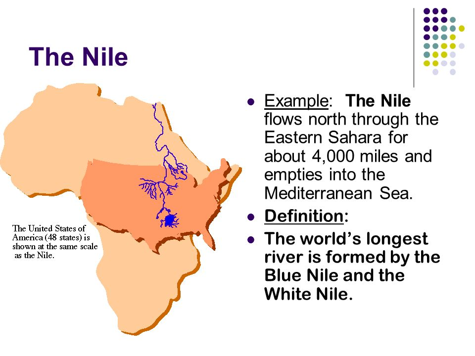 The Nile Example: The Nile flows north through the Eastern Sahara for about 4,000 miles and empties into the Mediterranean Sea.