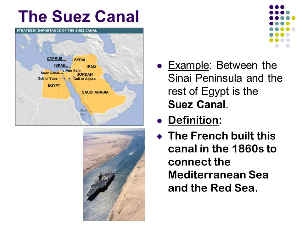 The Suez Canal Example: Between the Sinai Peninsula and the rest of Egypt is the Suez Canal.