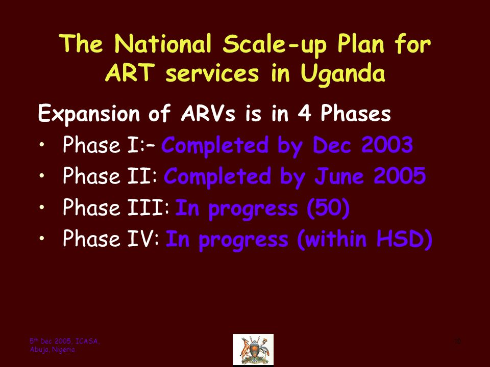 105 th Dec 2005, ICASA, Abuja, Nigeria The National Scale-up Plan for ART services in Uganda Expansion of ARVs is in 4 Phases Phase I:– Completed by Dec 2003 Phase II: Completed by June 2005 Phase III: In progress (50) Phase IV: In progress (within HSD)