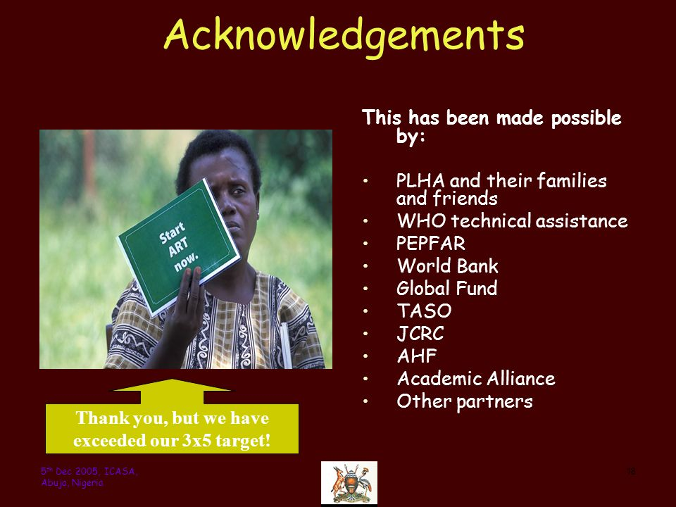 185 th Dec 2005, ICASA, Abuja, Nigeria Acknowledgements This has been made possible by: PLHA and their families and friends WHO technical assistance PEPFAR World Bank Global Fund TASO JCRC AHF Academic Alliance Other partners Thank you, but we have exceeded our 3x5 target!