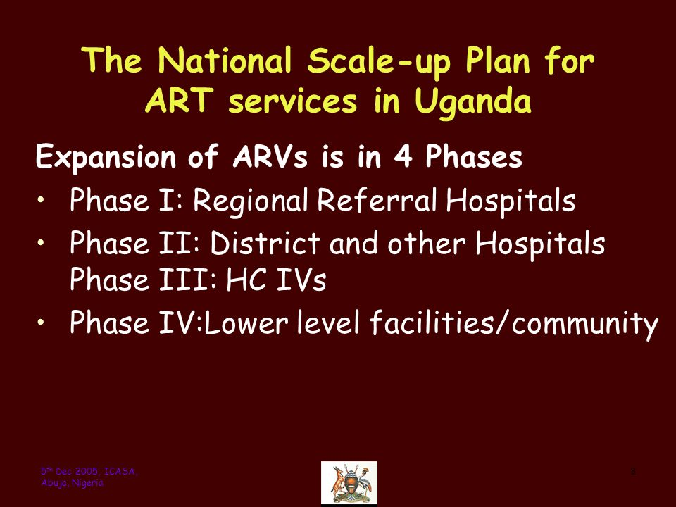 85 th Dec 2005, ICASA, Abuja, Nigeria The National Scale-up Plan for ART services in Uganda Expansion of ARVs is in 4 Phases Phase I: Regional Referral Hospitals Phase II: District and other Hospitals Phase III: HC IVs Phase IV:Lower level facilities/community