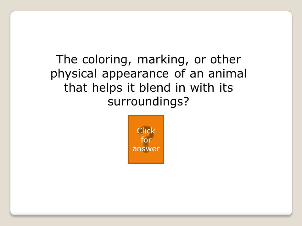 The coloring, marking, or other physical appearance of an animal that helps it blend in with its surroundings.