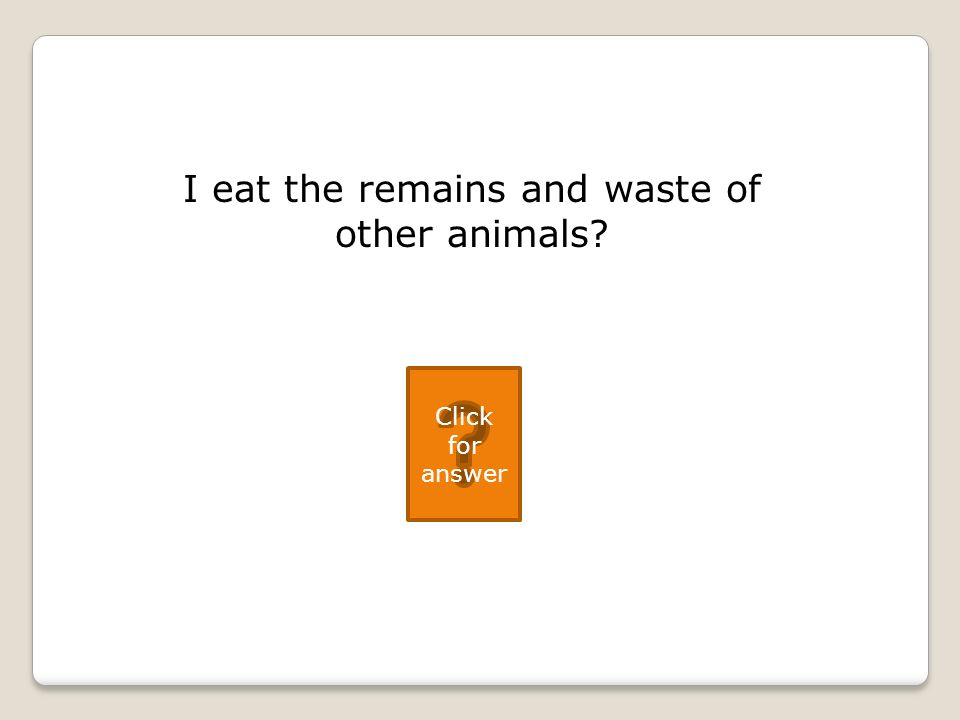 I eat the remains and waste of other animals Click for answer