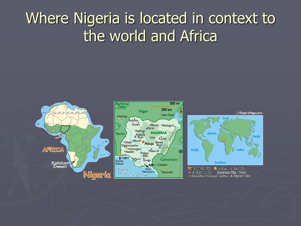 Where Nigeria is located in context to the world and Africa