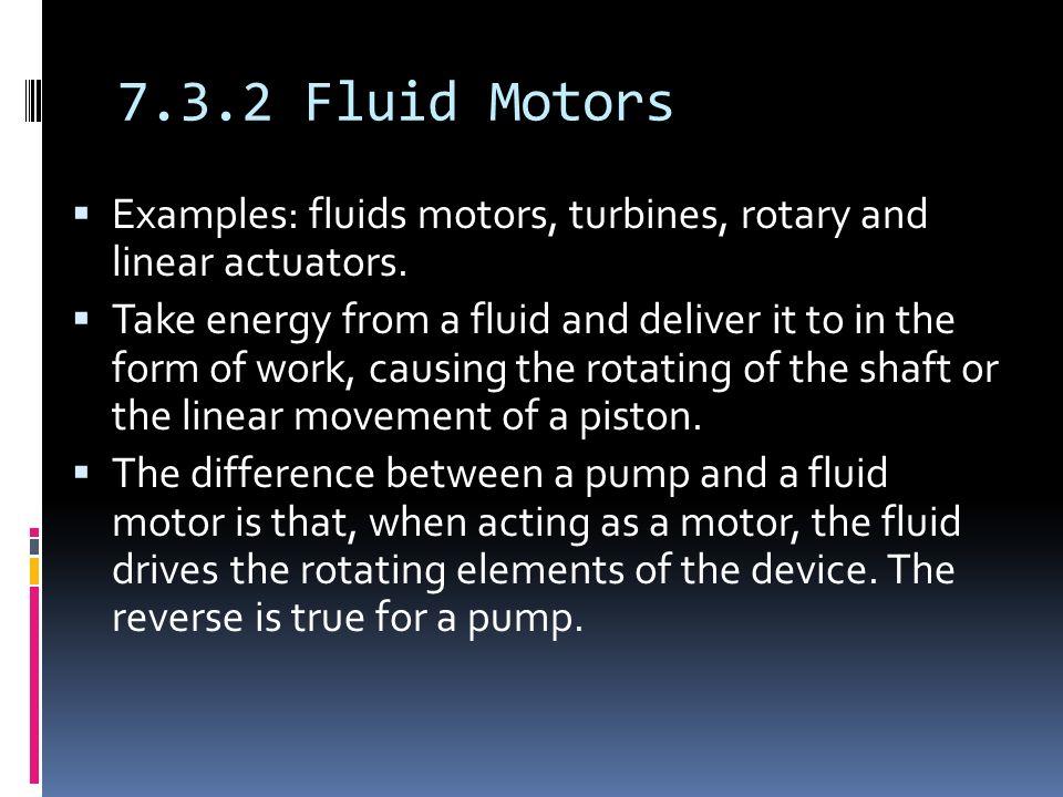7.3.2 Fluid Motors  Examples: fluids motors, turbines, rotary and linear actuators.