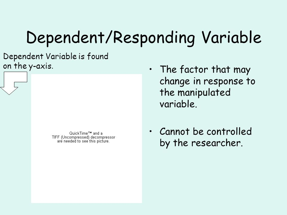 Dependent/Responding Variable The factor that may change in response to the manipulated variable.