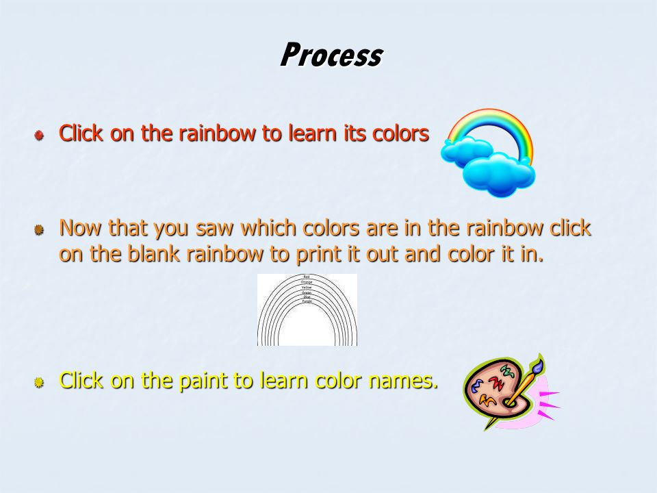 4 process click on the rainbow to learn its colors now that you saw which colors are in the rainbow click on the blank rainbow to print it out and color it