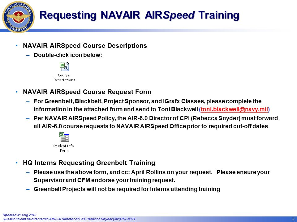 1 1 Fy11 Navair Airspeed Courses Currently Scheduled Yellowbelt