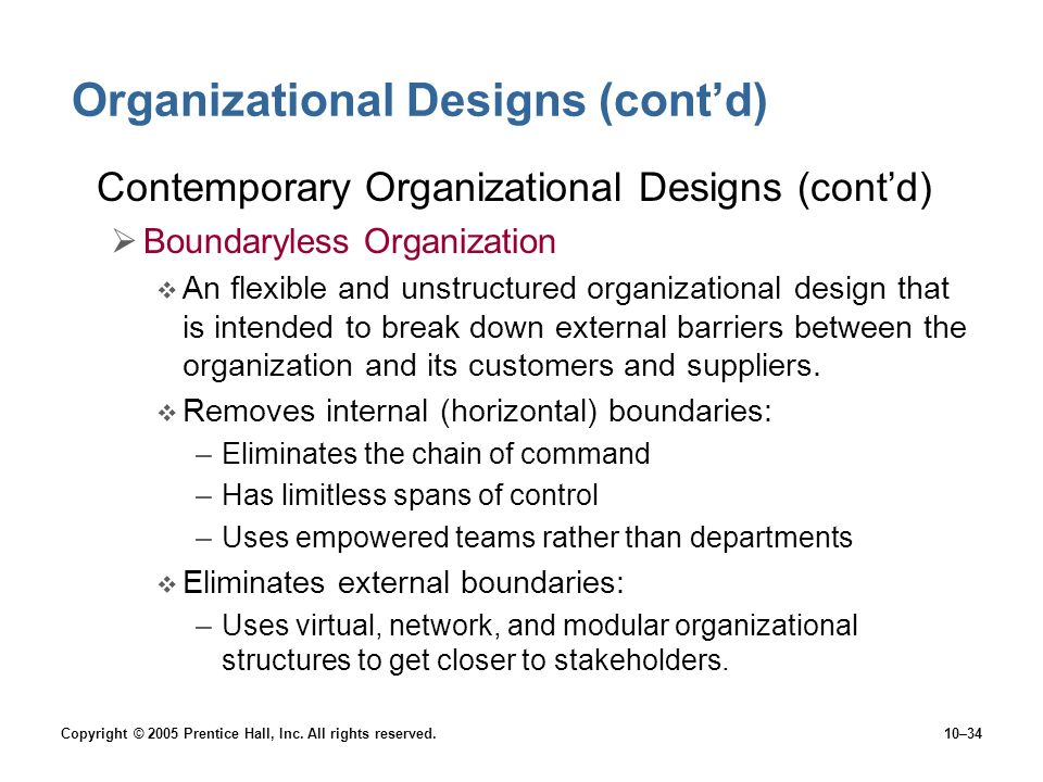 Copyright © 2005 Prentice Hall, Inc. All rights reserved.10–34 Organizational Designs (cont'd) Contemporary Organizational Designs (cont'd)  Boundary