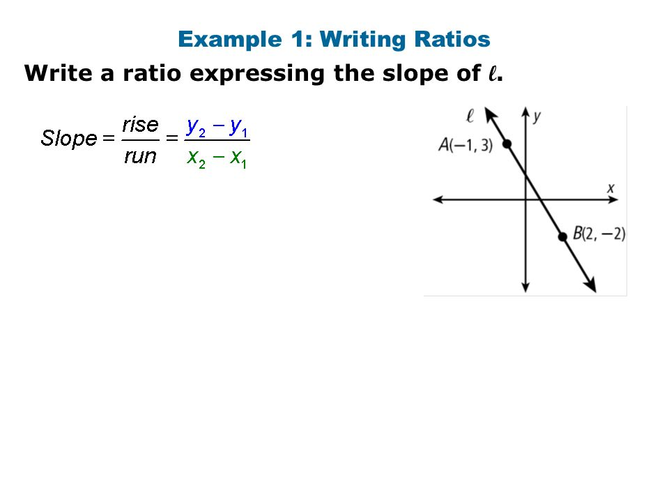 Warm up find the slope of the line through each pair of points 1 3 example 1 writing ratios write a ratio expressing the slope of l ccuart Choice Image