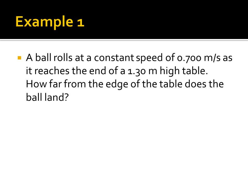  A ball rolls at a constant speed of m/s as it reaches the end of a 1.30 m high table.