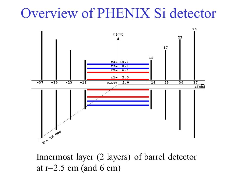 Overview of PHENIX Si detector Innermost layer (2 layers) of barrel detector at r=2.5 cm (and 6 cm)